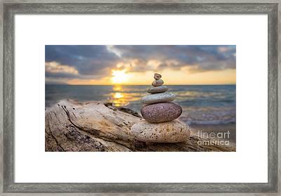 Zen Stones Framed Print by Aged Pixel