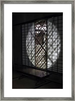 Zen Temple Window - Kyoto Framed Print by Daniel Hagerman