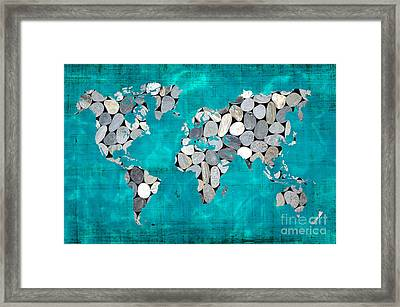 Zen World Map Framed Print by Delphimages Photo Creations