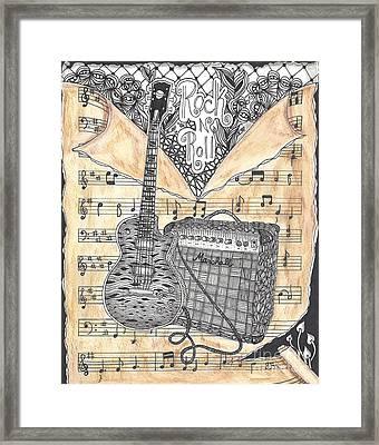 Zentange Inspired Guitar Framed Print by Dianne Ferrer