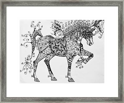 Zentangle Circus Horse Framed Print by Jani Freimann