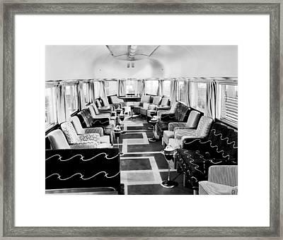 Zephyr Art Deco Lounge Car Framed Print by Underwood Archives