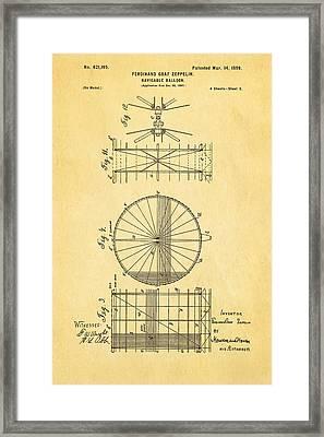Zeppelin Navigable Balloon Patent Art 2 1899 Framed Print by Ian Monk