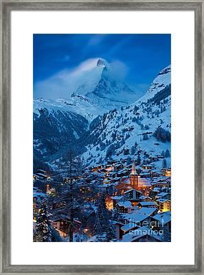 Zermatt - Winter's Night Framed Print by Brian Jannsen