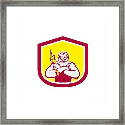 Zeus Greek God Arms Cross Thunderbollt Retro Framed Print by Aloysius Patrimonio