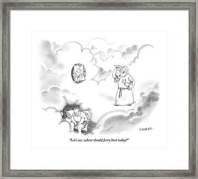 Zeus Plays Darts Framed Print by Pat Byrnes