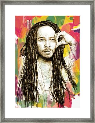 Ziggy Marley - Stylised Drawing Art Poster Framed Print by Kim Wang
