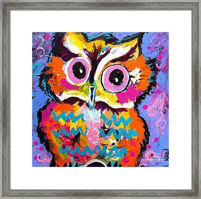 Ziggy The Great Horned Owl Framed Print by Kim Heil
