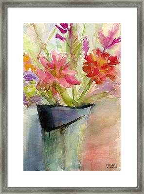 Zinnias In A Vase Watercolor Paintings Of Flowers Framed Print by Beverly Brown