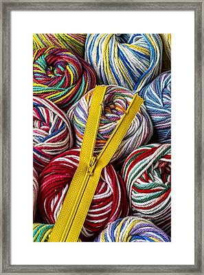 Zipper And Yarn Framed Print by Garry Gay