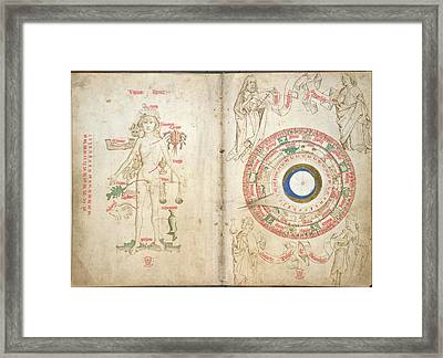 Zodiacal Figure And Diagram Framed Print by British Library