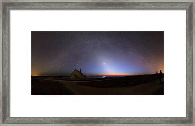 Zodiacal Light Over Chapel Framed Print by Laurent Laveder