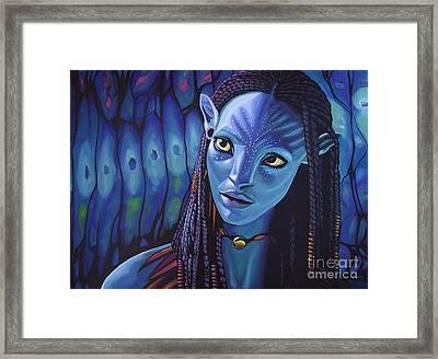 Zoe Saldana As Neytiri In Avatar Framed Print by Paul Meijering