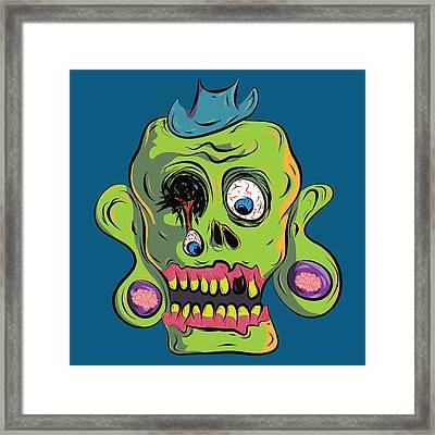 Zombie Skull Framed Print by Jera Sky