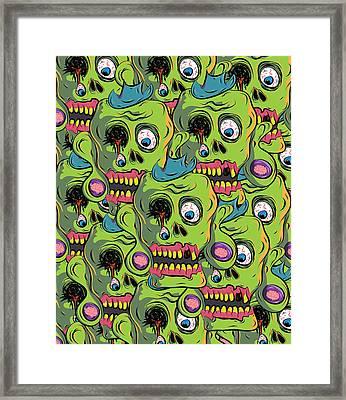 Zombie Skulls Framed Print by Jera Sky