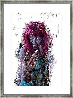 Zombie Want You Framed Print by John Haldane