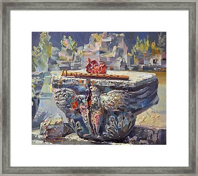 Zvartnots Eagle Duduk And Pomegranate Framed Print by Meruzhan Khachatryan