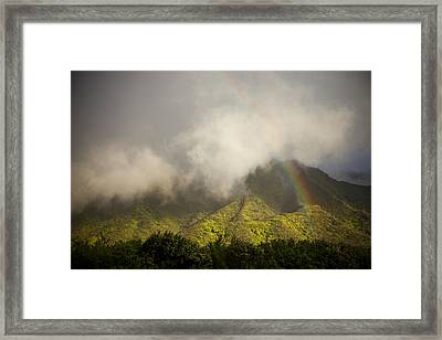 A Rainbow Shines Over The Rugged Framed Print by Taylor S. Kennedy