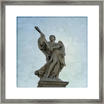 Angel With Cross. Ponte Sant'angelo. Rome Framed Print by Bernard Jaubert