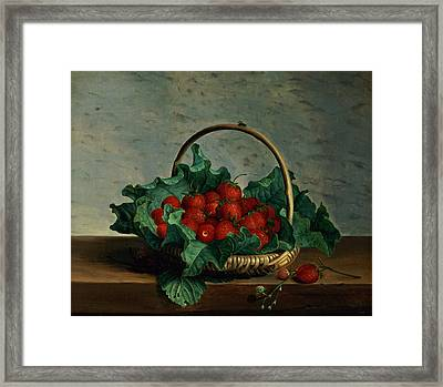 Basket Of Strawberries Framed Print by Johan Laurents Jensen