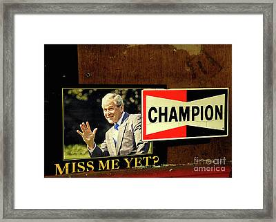 Champ Not Villain Framed Print by Joe Jake Pratt
