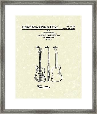 Fender Electric Guitar 1959 Patent Art  Framed Print by Prior Art Design