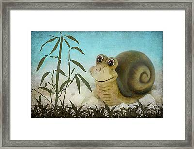 Frany The Snail Framed Print by Angela Doelling AD DESIGN Photo and PhotoArt