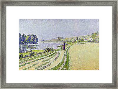 Herblay La River  Framed Print by Paul Signac