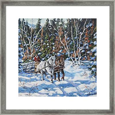 Horses Hauling Wood In Winter By Prankearts Framed Print by Richard T Pranke