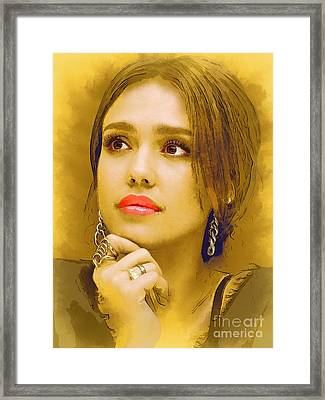 Jessica Alba Portrait C Framed Print by Andre Drauflos