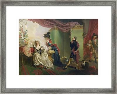 Malvolio Before Olivia - From 'twelfth Night'  Framed Print by Johann Heinrich Ramberg