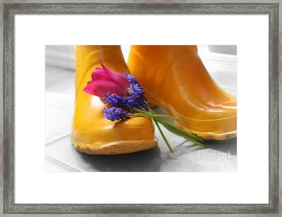 Spring Boots Framed Print by Cathy  Beharriell