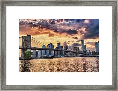 Sunset Over The Brooklyn Bridge Framed Print by Val Black Russian Tourchin