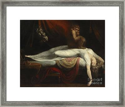 Scared Framed Print featuring the painting  The Nightmare by Henry Fuseli