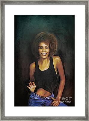 Whitney Elizabeth Houston Framed Print by Andrzej Szczerski