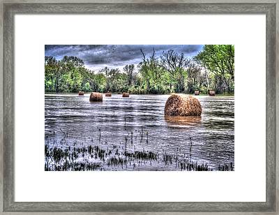 0804-3586 Flooded Hay Framed Print by Randy Forrester