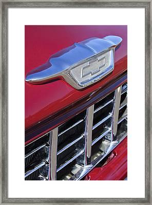 1955 Chevrolet Pickup Truck Grille Emblem Framed Print by Jill Reger