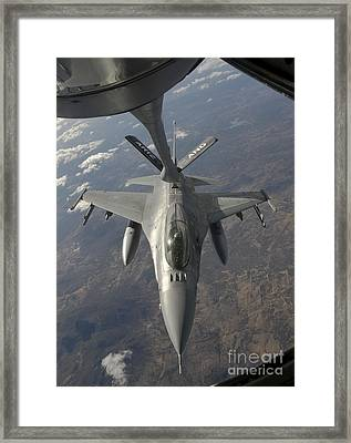 A Chilean Air Force F-16 Refuels Framed Print by Giovanni Colla