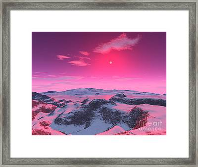 A Hypothetical Planet Orbiting A Red Framed Print by Ron Miller