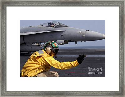 A Shooter Launches An Fa-18e Super Framed Print by Stocktrek Images