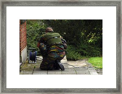 A Soldier Of The Belgian Army Framed Print by Luc De Jaeger