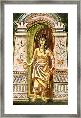 A Woman At The Gateway - Welcome Symbol Framed Print by Vasile Movileanu