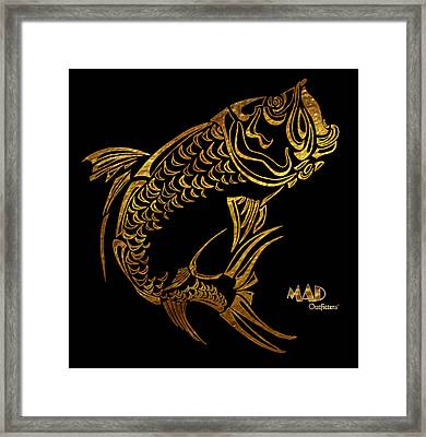 Abstract Tarpon Fishing Mad Outfitters Fish Design Framed Print by MAD Outfitters