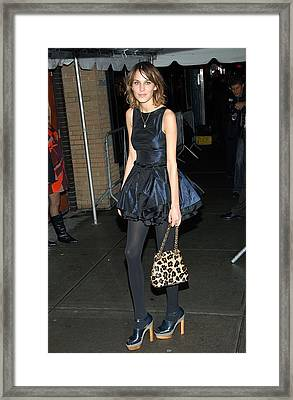 Alexa Chung Wearing A Katy Rodriguez Framed Print by Everett