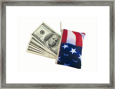 American Flag Wallet With 100 Dollar Bills Framed Print by Blink Images