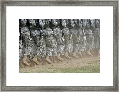 Army Rangers Marching In Formation Framed Print by Skip Brown