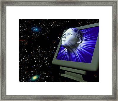 Artificial Intelligence: Face From Computer Screen Framed Print by Laguna Design