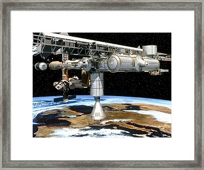 Artwork Of The International Space Station Framed Print by David Ducros