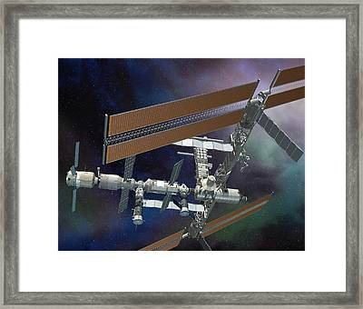 Atv Docked To The Iss, Artwork Framed Print by David Ducros