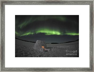 Aurora Borealis Over An Igloo On Walsh Framed Print by Jiri Hermann